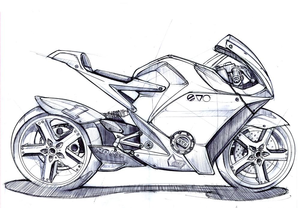 Как нарисовать мотоцикл карандашом