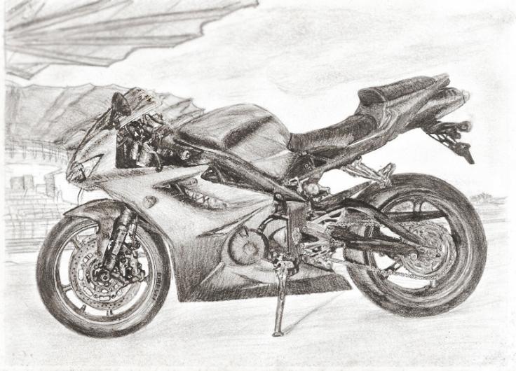 Как нарисовать мотоцикл карандашом поэтапно