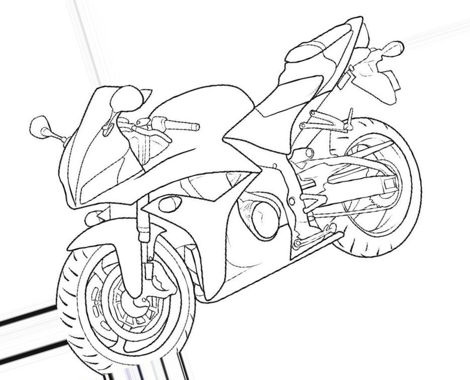 как нарисовать мотоцикл карандашом поэтапно honda
